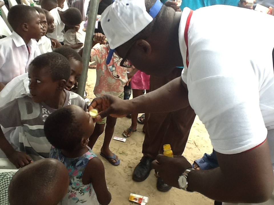 Some children being de-wormed at the free medical mission