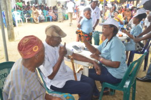 Nurses taking vital signs from patients