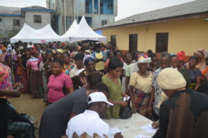 Scores of women and Nursing mother at the records unit for registration