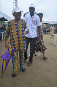 An aged man arriving for medical attention in one of the outreach.